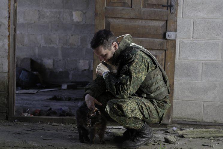 Kominternove - Repubblica popolare di Donetsk (Ex Ucraina - Donbass) - 2018. Un soldato DPR che accarezza un gatto in un casolare vicino la trincea.